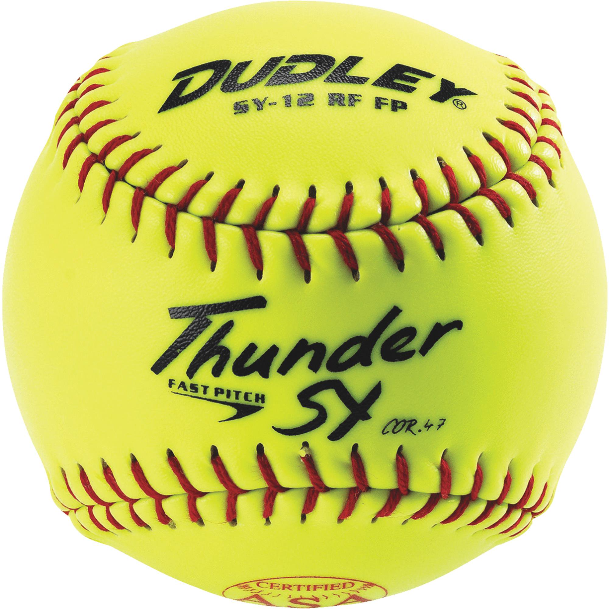"""Dudley 4A-913Y ASA Thunder SY 12"""" (.47) Fast Pitch Softball Synthetic Cover Pack of 12"""