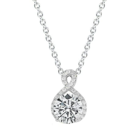 Alessandra 18k White Gold CZ Halo Infinity Pendant Necklace, Best Round Diamond Solitaire Cubic Zirconia Crystal Silver Necklaces Special-Occasion