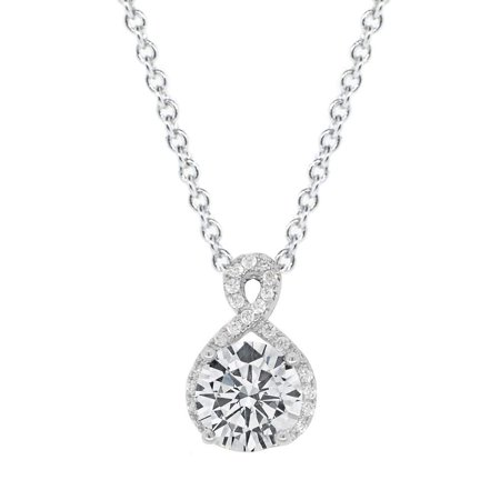 Alessandra 18k White Gold CZ Halo Infinity Pendant Necklace, Best Round Diamond Solitaire Cubic Zirconia Crystal Silver Necklaces Special-Occasion (White Gold Solitaire Necklace)
