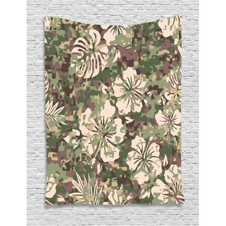 Camo Tapestry, Aloha Hawaiian Tropical Jungle Forest Hibiscus Flowers Leaves Nature, Wall Hanging for Bedroom Living Room Dorm Decor, Baby Pink Green Dark Brown, by
