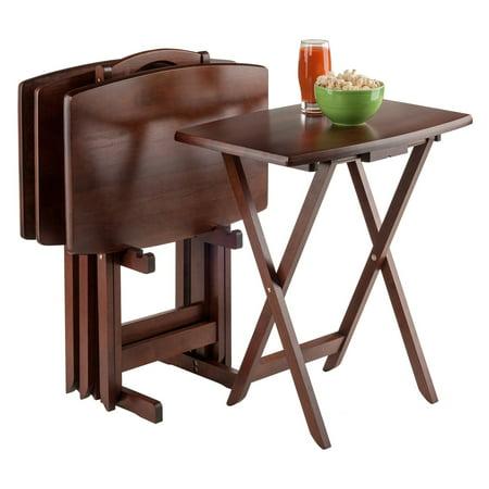 Winsome Wood Darryl 5 Piece Oversize Snack Table Set Walnut
