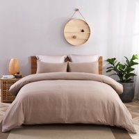 3 Piece Solid Washed Microfiber Duvet Cover Set