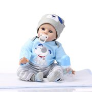 "Clearance! 22"" Baby Doll and Accessories, Newborn Silicone Vinyl Reborn Baby Dolls, Kid Role Play Toy Doll with Clothe, Dolls for Children 12 Months and Older, Girls Birthday/Christmas Gift, W4789"