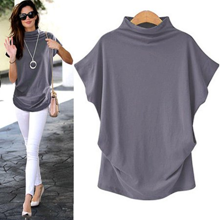 Tuscom Women Turtleneck Short Sleeve Cotton Solid Casual Blouse Top T Shirt Plus Size