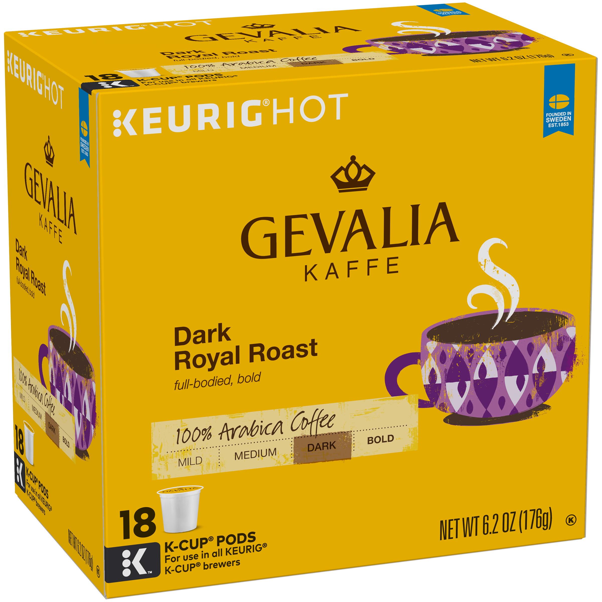Pack Of 4 18 count K-CUP Pods GEVALIA Dark Royal Roast Coffee