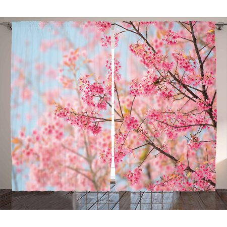 Floral Curtains 2 Panels Set, Japanese Sakura Cherry Blossom Branches Full of Spring Beauty Picture, Window Drapes for Living Room Bedroom, 108W X 108L Inches, Pale Pink Baby Blue, by