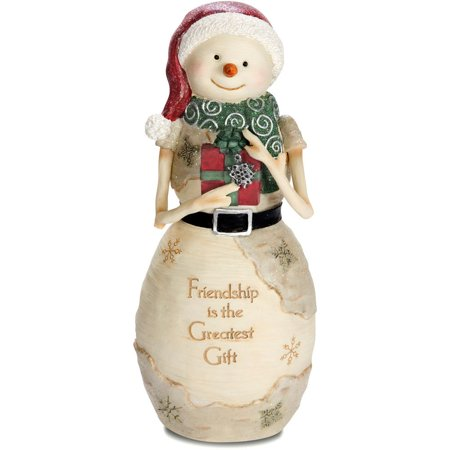 Pavilion Gift Company 81122 Friendship Snowman Holding Gift