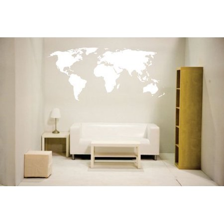 World map(White) wall decal Vinyl Art Sticker Home D?cor Large ()