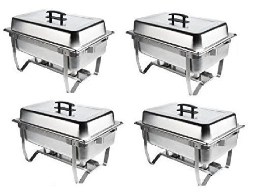 Chafer 4 Pack Premier Chafers Stainless Steel Chafer Dish 8 Qt. Capacity Quantity 4 Chafing Dish Sets Brand... by M.V. Trading