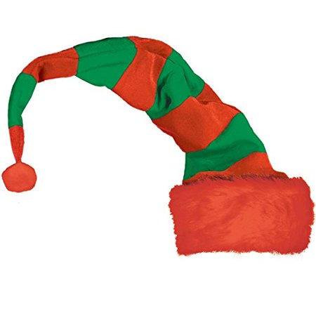 Amscan Fun-Filled Christmas and Holiday Party Long Striped Bend To Shape Elf Hat - Paper Elf Hat