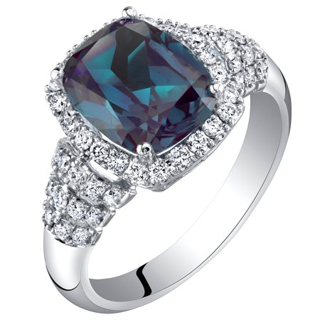 Alexandrite Lab - 14K White Gold Created Alexandrite and Lab Grown Diamond Ring 4.04 carats total Cushion Cut
