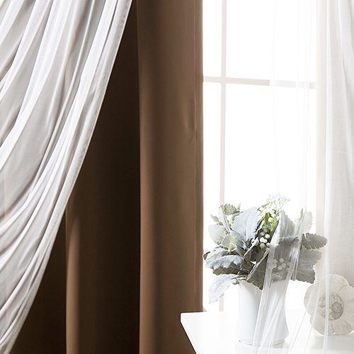 Chocolate 52 x 63 In. Sheer Lace and Blackout Window Treatments, Set of Four