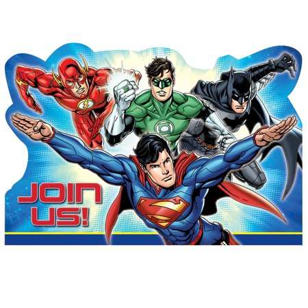 DC Justice League Superhero Birthday Party Invitation 16 Count Save The Date](Superhero Invitations)