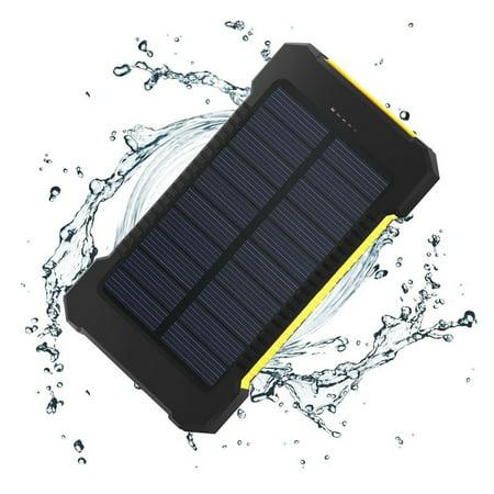 iMeshbean Solar Charger, 10000mAh Solar Power Bank with Dual USB, External Backup Battery Pack Solar Panel Cellphone
