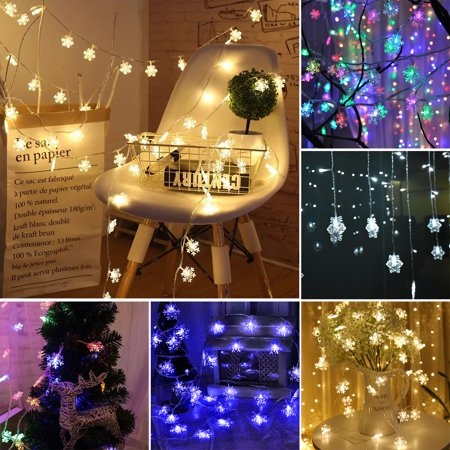 EEEkit Star Curtain String Lights, Waterproof 96Pcs Star Snowflakes Window Lights Plug in 18 Strings with 8 Flashing Modes Decorative Christmas Light for Christmas, Wedding, Party, Home, Patio Lawn