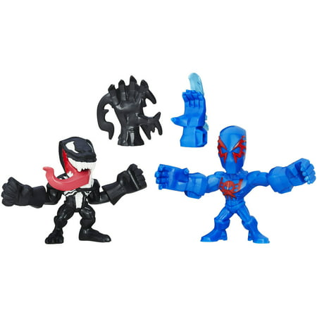 Marvel Super Hero Mashers Micro Spider-Man 2099 and Venom Action Figures, 2 Pack (Elektra Superhero)