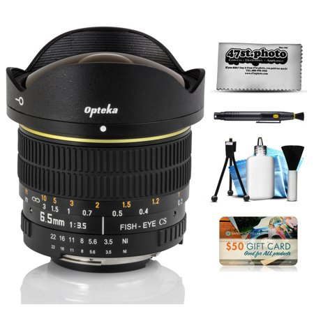 Opteka 6.5mm f/3.5 Fisheye Lens with Removable Hood and Cleaning Bundle for Nikon D4S, DF, D4, D3X, D810, D800, D750, D610, D600, D7200, D7100, D5500, D5300, D5200, D3300 and D3200 Digital SLR Cameras