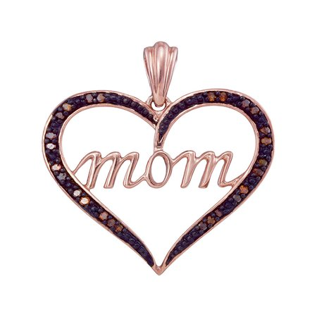 10k Rose Gold Womens Red Color Enhanced Diamond Mom Heart Love Mother's Day Pendant 1/12 Cttw - Mothers Day Colors