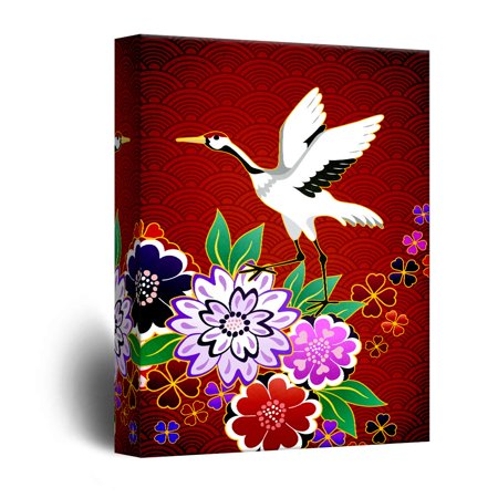 - wall26 - Canvas Wall Art - Crane on Red Floral Background - Giclee Print Gallery Wrap Modern Home Decor Ready to Hang - 32x48 inches