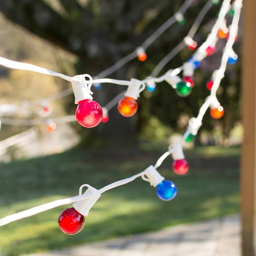 2 Pcs Outdoor String Lights Globe String Lights 1.25 in E12 Bulbs 100ft C7 White Wire Multicolor by