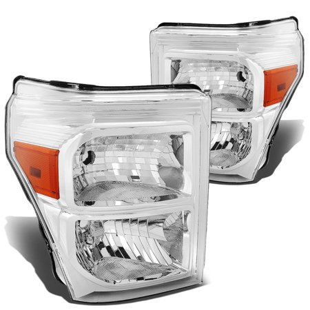 For 2011 to 2015 Ford F250 / F350 / F450 / F550 Super Duty Headlight Chrome Housing Amber Corner Headlamp 12 13 14 Left+Right
