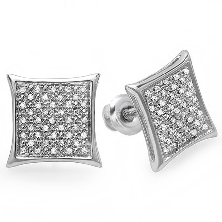 Hip Hop Diamond Earrings - Dazzlingrock Collection 0.20 Carat (ctw) 14K Real White Diamond Kite Shape Men's Hip Hop Iced Micro Pave Stud Earrings 1/5 CT, White Gold