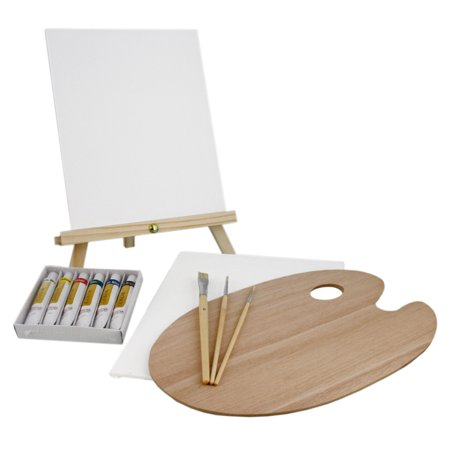 US Art Supply 13 Piece Oil Painting Set with Mini Table Easel Canvas, 6 - Art Painting Supplies