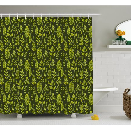 Sage Shower Curtain Patterned Green Leaves Nature Inspired Composition Fresh Trees Woodland Fabric Bathroom