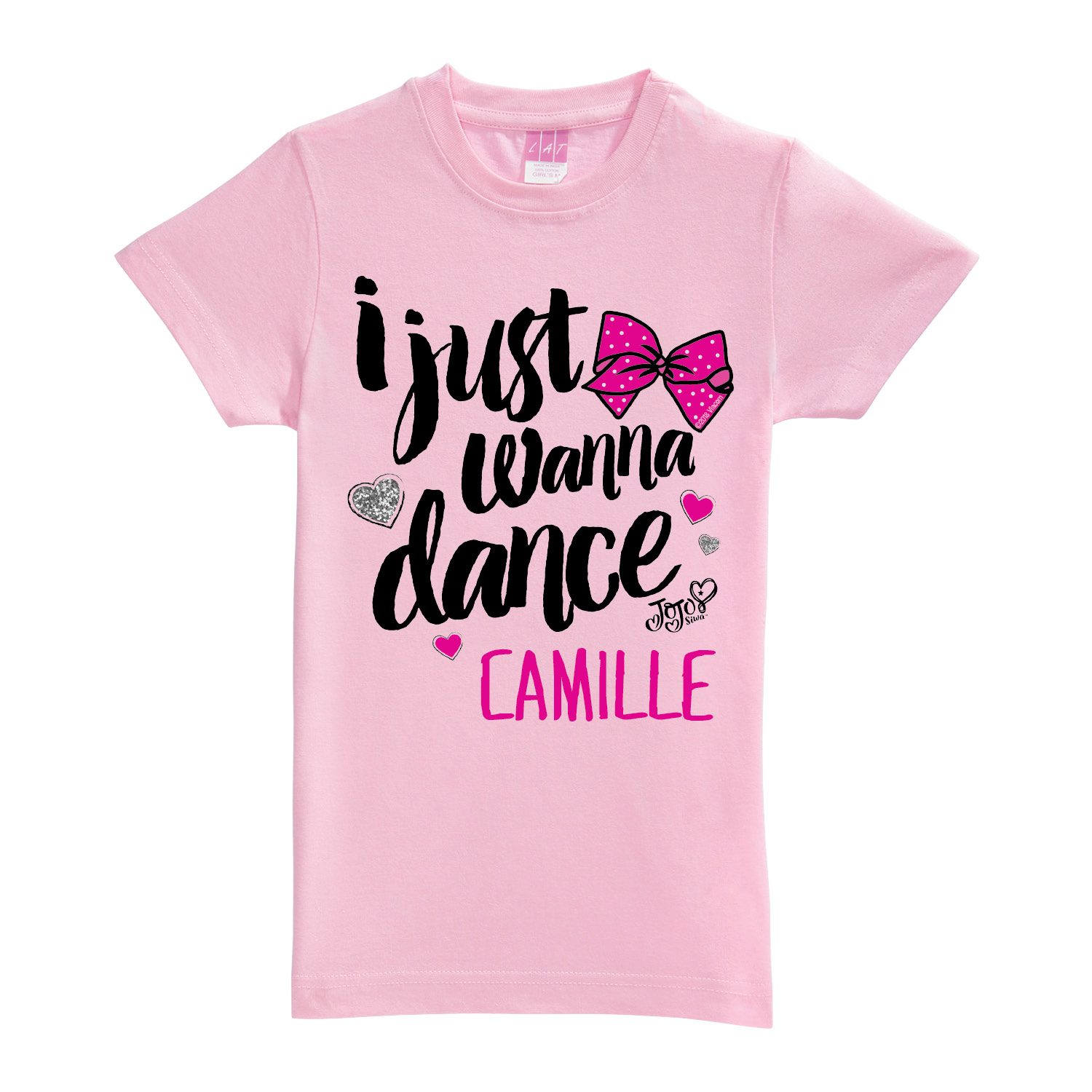 Personalized JoJo Siwa Pink Dance Fitted Youth Tee