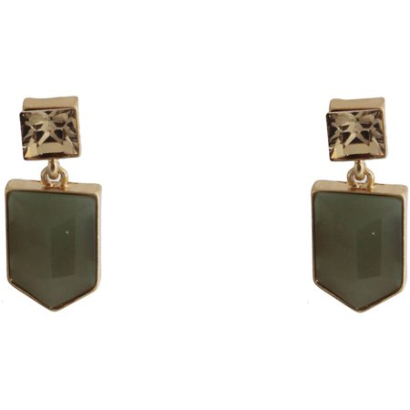 Gold-Tone Geometric Olive Green Stud Earrings