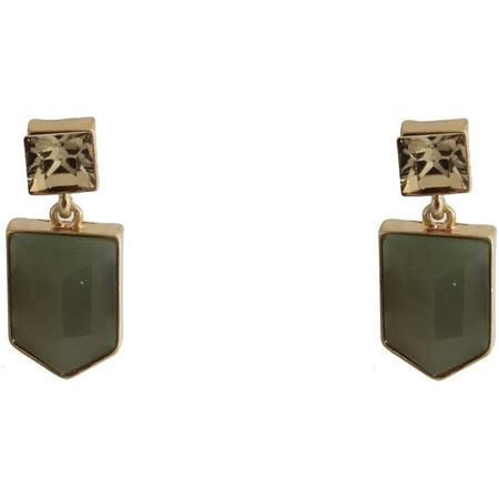 Gold-Tone Geometric Olive Green Stud Earrings