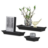 "Mainstays 3-Piece Decorative Shelf Set 6""W, 12""W, 14""W, Black"