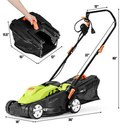 14-Inch 12Amp Lawn Mower w/Folding Handle Electric Push Lawn Corded Mower Green - image 9 of 10