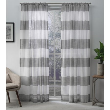 Exclusive Home Curtains 2 Pack Darma Sheer Linen Rod Pocket Curtain - Line Sheer