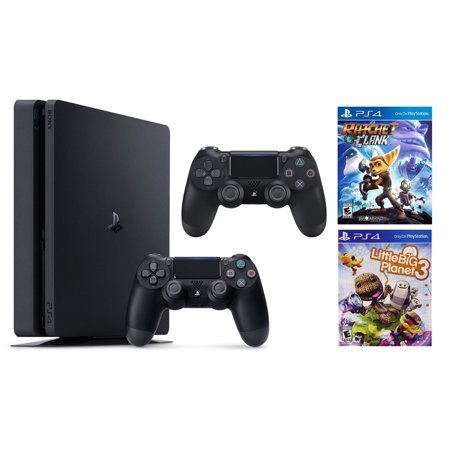 Sony PlayStation 4 Slim, 1TB Gaming Console with 2nd Controller, and with Ratchet and Clank, and with Little Big Planet 3