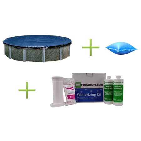 Swimline 18' Round Swimming Pool Cover + 4'x4' Closing Pillow + Winterizing Kit