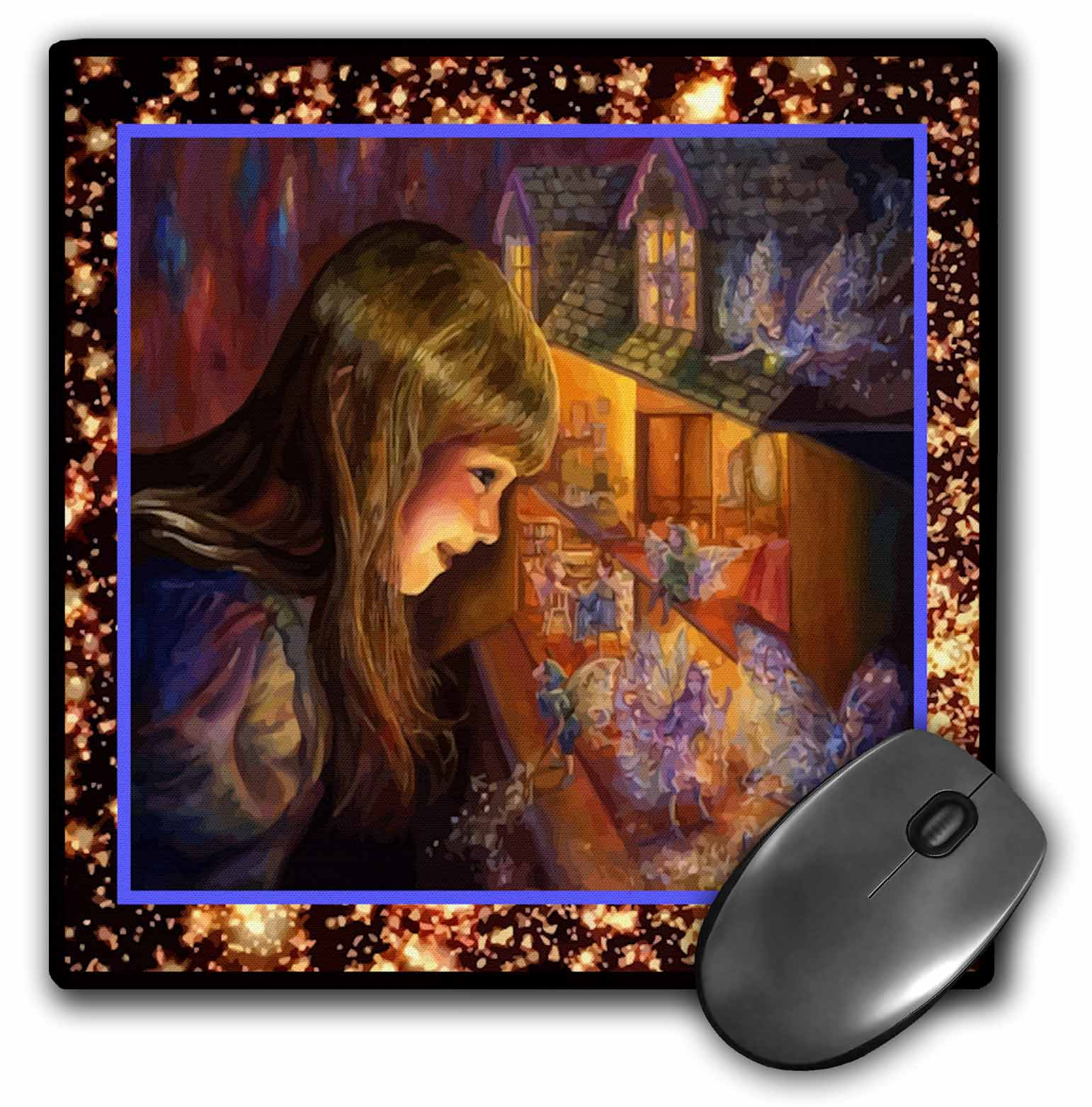 3dRose Dollhouse Fairies, Mouse Pad, 8 by 8 inches