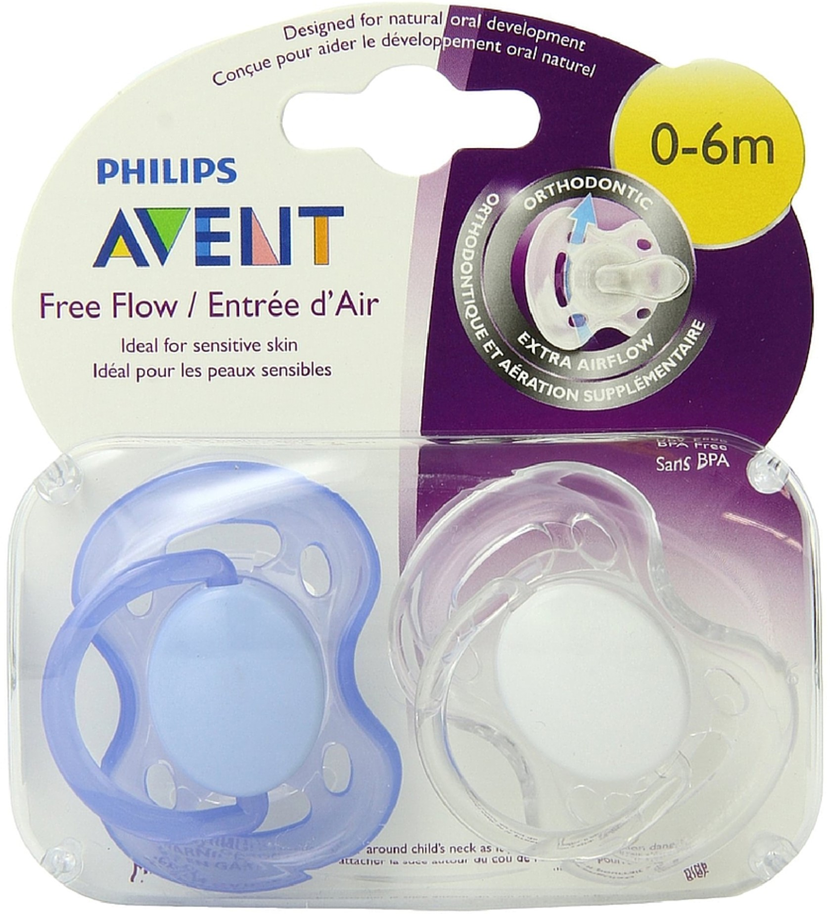 Philips Avent Freeflow Pacifier 0-6m, Color may vary, 2 pack, SCF178/23
