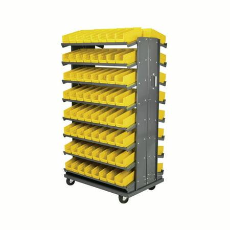 "Image of Akro-Mils 12"" Double Sided Storage Pick Rack 144 Shelf Bins, Gray/Yellow"