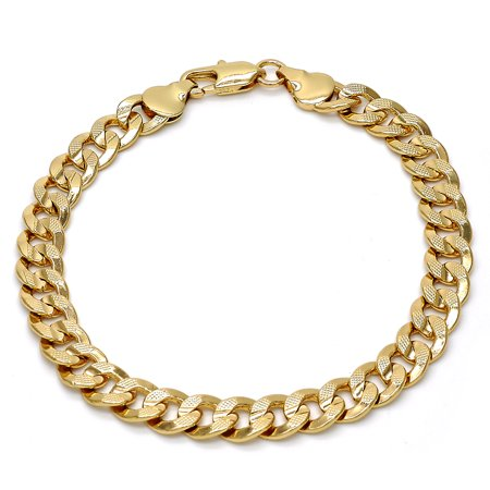 Fashion Gold Plated Link Bracelet Pave Cuban Design By Folks Jewelry