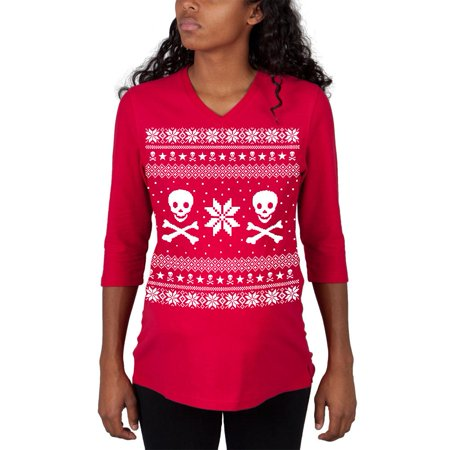 skull crossbones ugly christmas sweater red maternity 34 sleeve t shirt - Maternity Christmas Sweater