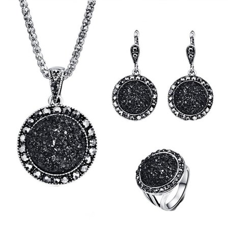 Black Jewelry Set (Women's Fashionable Black Circular Stone Ring Necklace Earring Ring Jewelry)