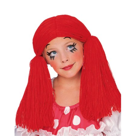 Unisize Adult or Child Short Red Rag Doll Raggedy Anne Costume Yarn Wig ()