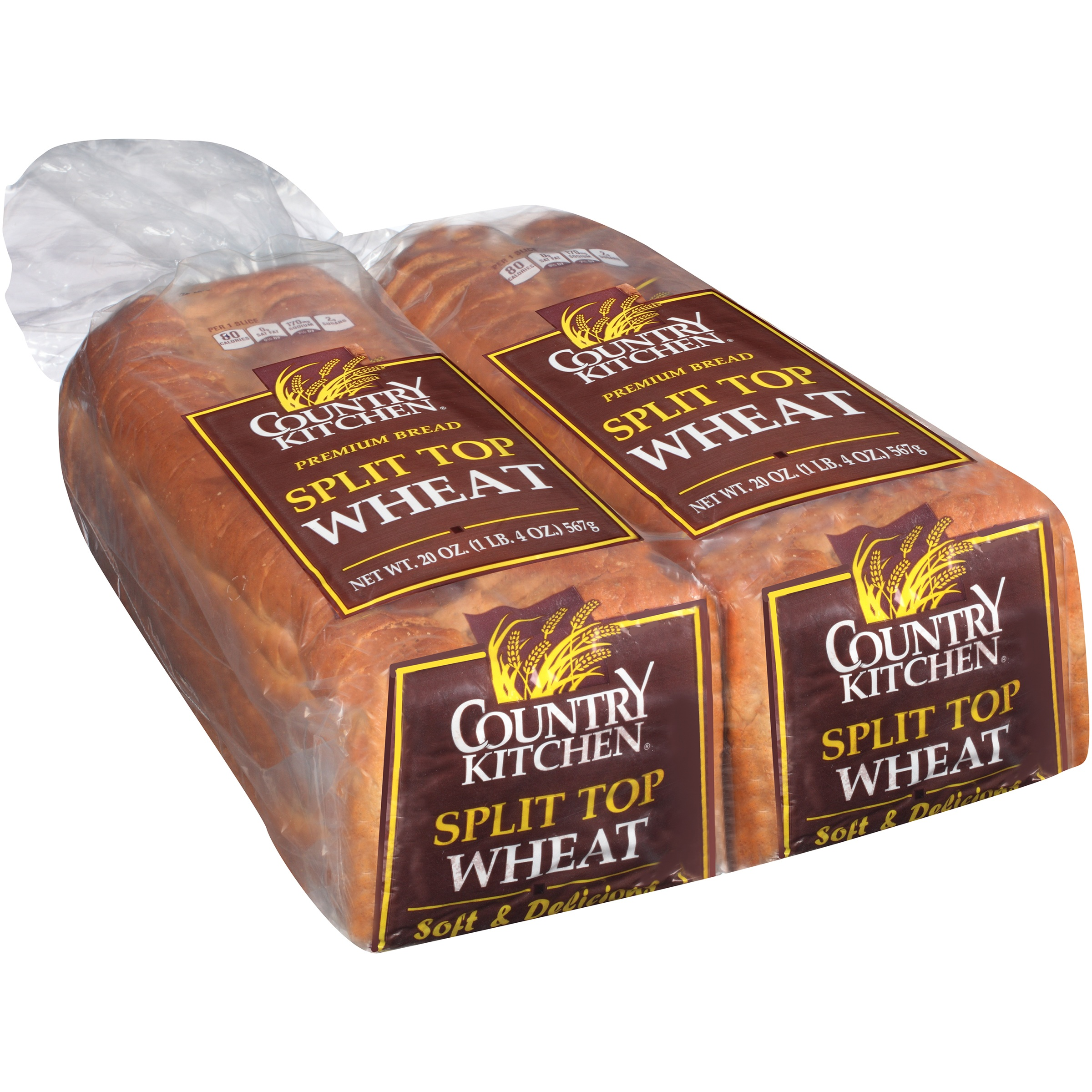 Country Kitchen Split Top Wheat Bread 2 20 Oz Loaf Bag Com