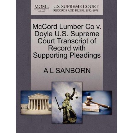 McCord Lumber Co V. Doyle U.S. Supreme Court Transcript of Record with Supporting Pleadings - image 1 of 1