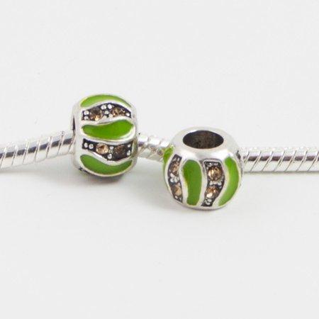 3 Beads - Green Yellow Rhinestone Enamel SIlver European Bead Charm E0170
