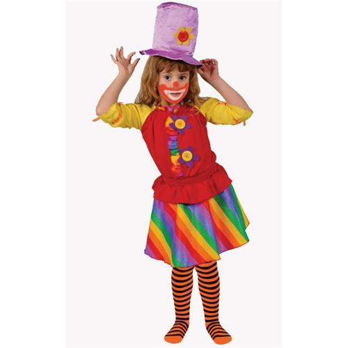 Dress Up America 585-L Rainbow Girls Clown - Size Large 12-14