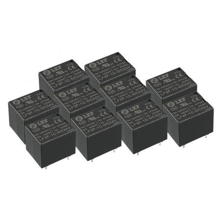 10Pcs DC 24V Coil SPDT 1NO+1NC 5P Power Electromagnetic Relay DIN PCB