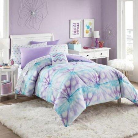 Purple, Turquoise & White Tie-Dye Girls Twin Comforter Set (6 Piece Bed in A Bag) - Tween Girls