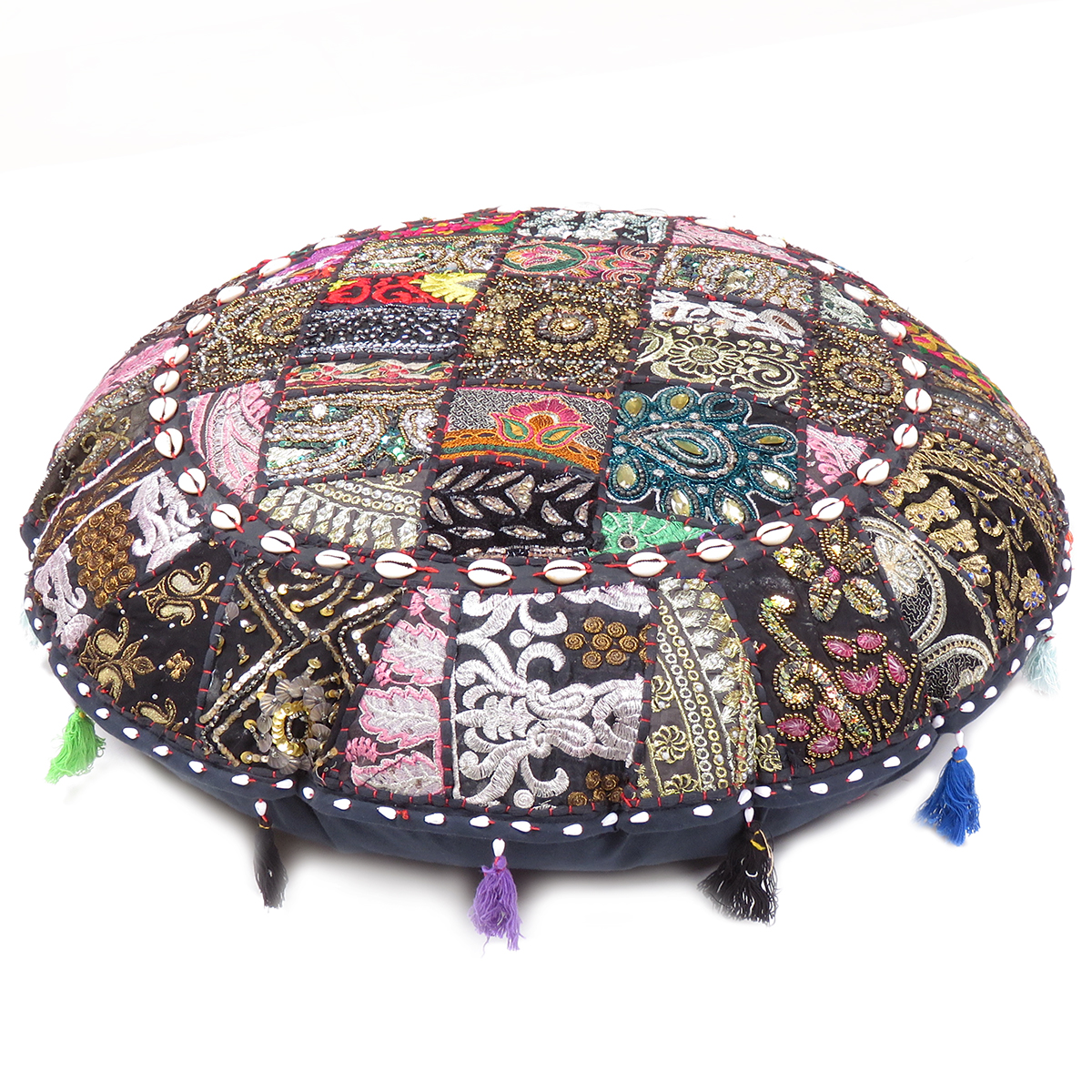 Traditional Style Indian Ottoman Ethnic Floor Cushion Asian Foot Stool Decorate